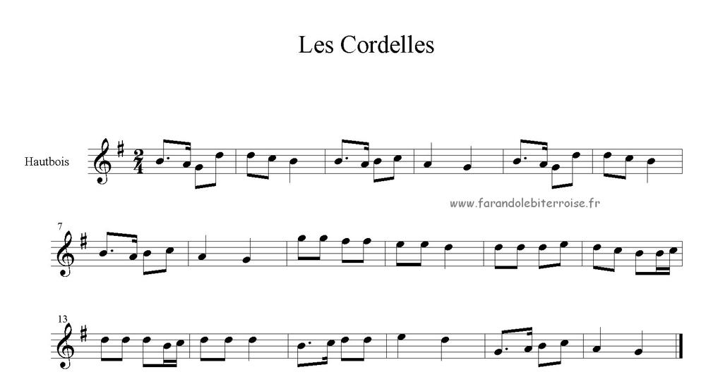 Partition – La danse des Cordelles
