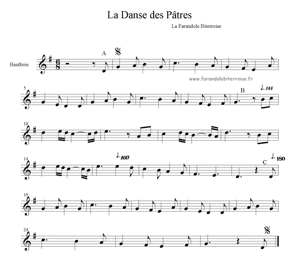 Partition – La danse des Pastres